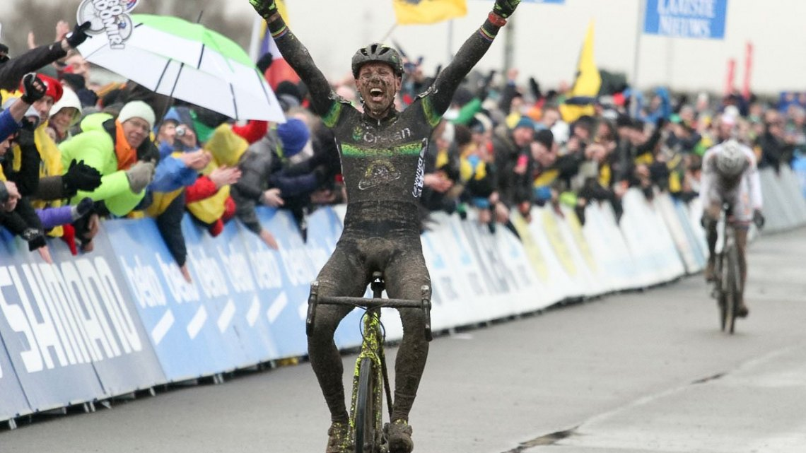 Sven Nys takes his 50th World Cup win. 2015 Koksijde World Cup Men. © B. Hazen / Cyclocross Magazine