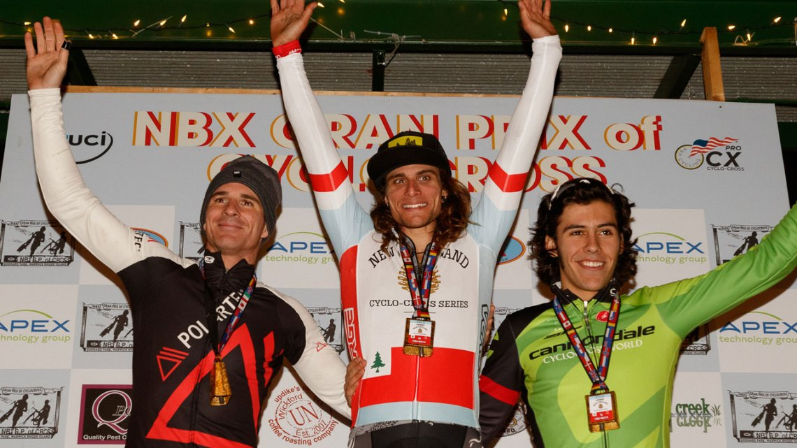Today's men's podium was also the final Series podium: Clark wins, McNicholas second, White third. © Todd Prekaski