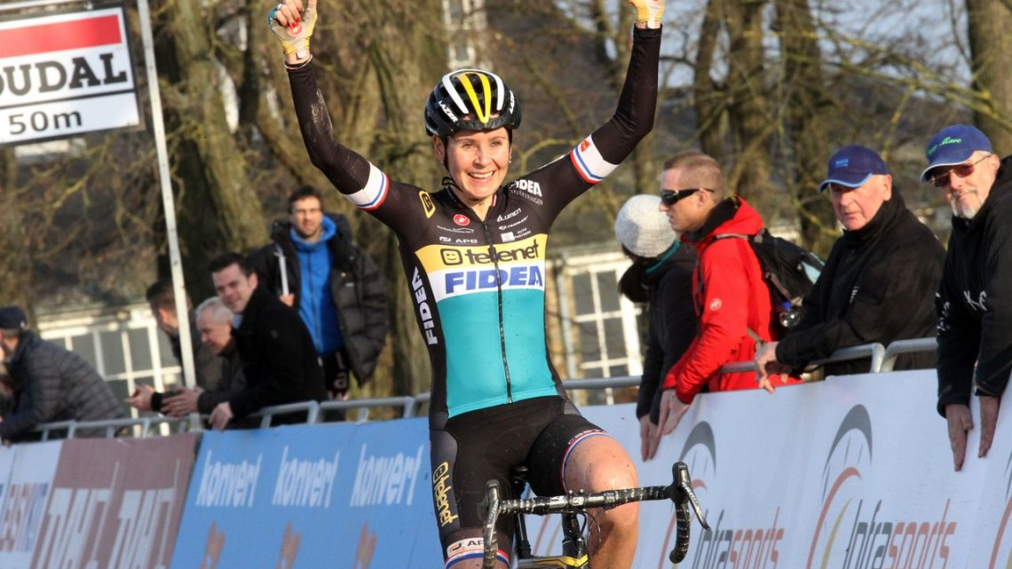 Nikki Harris basks in the sun as she takes the win at Namur.