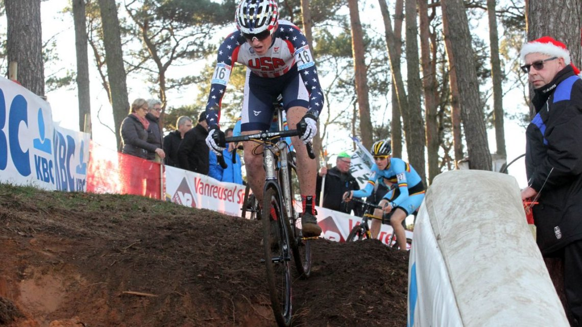 Gage Hecht was the top American rider in fifth today in the Men's Junior race at the World Cup Zolder. © Bart Hazen