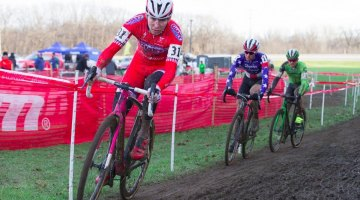 Logan Owen leads Jeremy Powers and Stephen Hyde around the muddy course at day 2 of Jingle Cross. © Ken Sherman