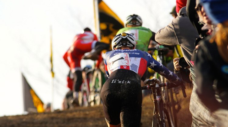 Logan Owen leads over Mt. Krumpit. Jingle Cross looks to be added to the 2016-17 UCI World Cup Calendar. © David Mable