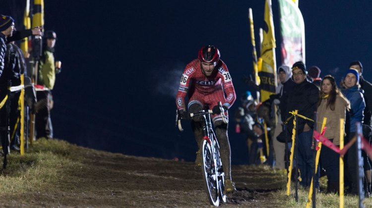 Troy Wells took the lead early at Jingle Cross, but was unable to maintain the pace, fading late to be overtaken by Jonathan Page. © Ken Sherman / kkimages.us