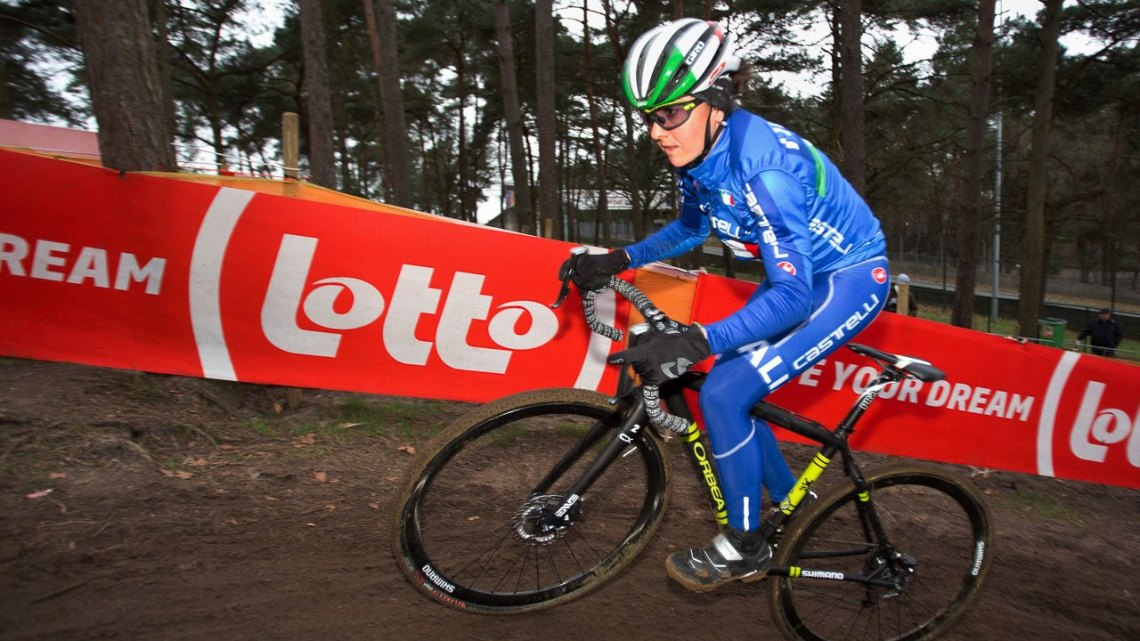 Eva Lechner. Course inspection. 2016 Zolder World Championships. © D. Zelck / Cyclocross Magazine