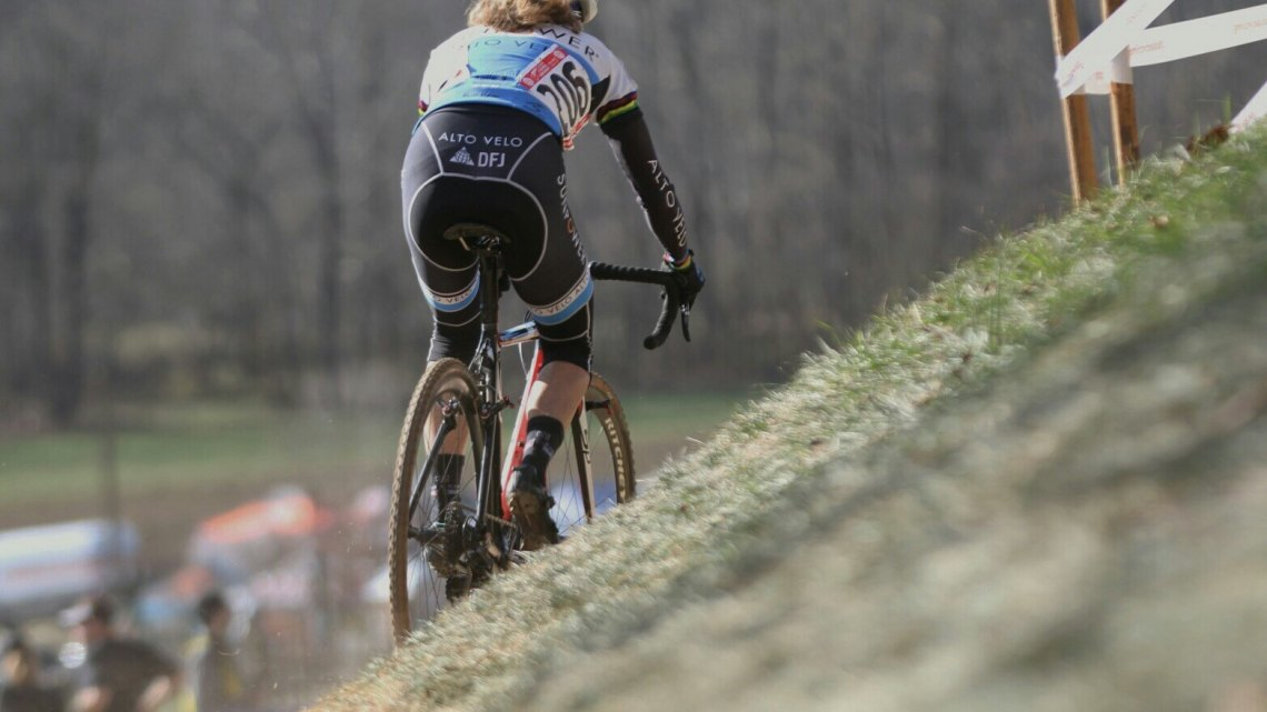 Karen Brems showed her competitors a clear pair of wheels in the Master Women's 50-54 event at the 2016 Cyclocross National Championships. © Cyclocross Magazine