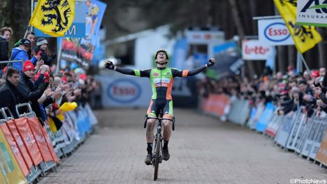 Wout Van Aert crosses the line with an emothional win at the 2016 Belgian National Championships.