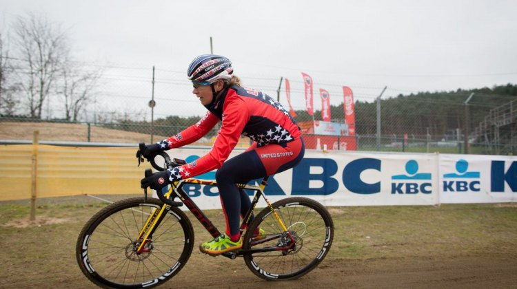 Meredith Miller, looking ready to tackle tomorrow's race. Course Inspection. 2016 UCI Cyclocross World Championships. © P. Van Hoorebeke/Cyclocross Magazine