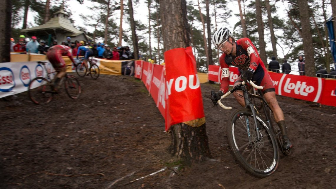 Denzel Stephenson survived the tricky, wet, root-filled turns to finish 30th. © Danny Zelck / Cyclocross Magazine