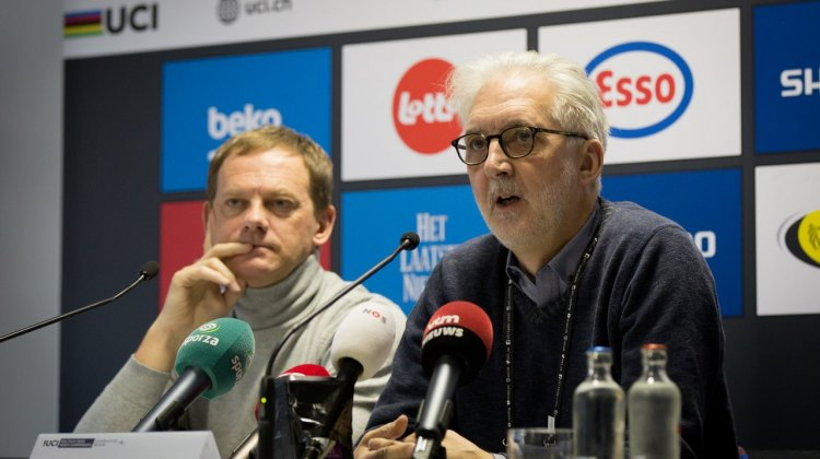 "Brian Cookson confirms ""mechanical doping"" or ""technological fraud"" was found yesterday in the women's U23 race. © Pieter Van Hoorebeke / Cyclocross Magazine"
