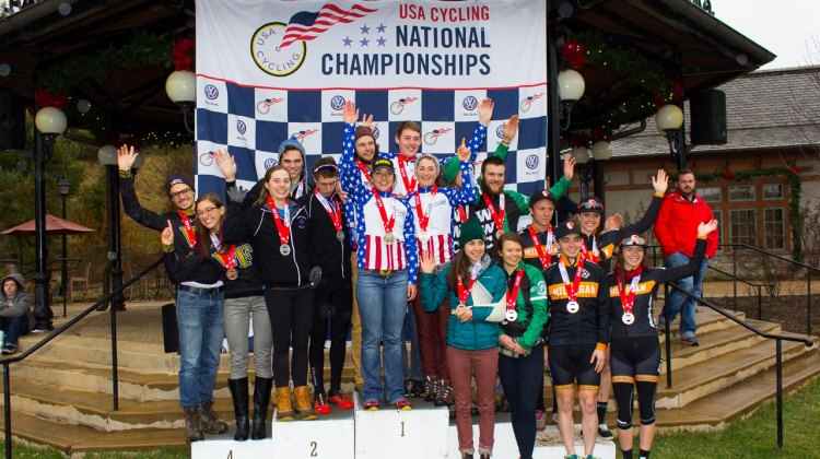 2016 USA Cycling Cyclocross Collegiate D2 4x4 Team Relay Podium