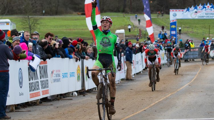 Gage Hecht celebrates his fifth cyclocross National Championship. © Cyclocross Magazine
