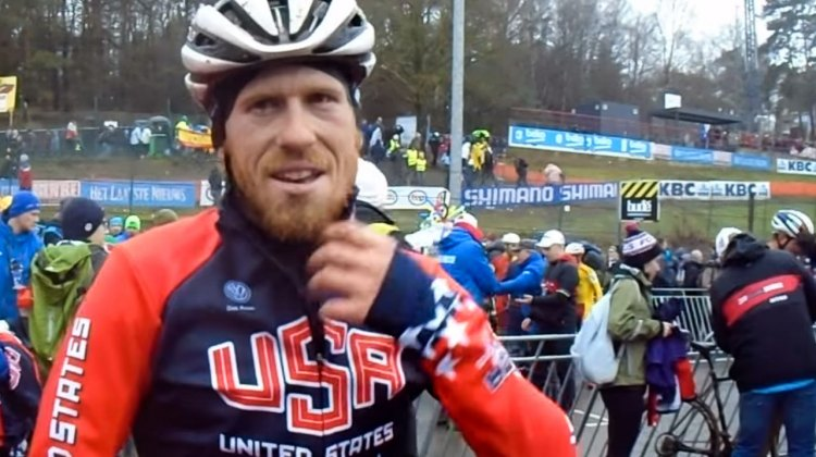 Stephen Hyde, post-race after the 2016 Cyclocross World Championships