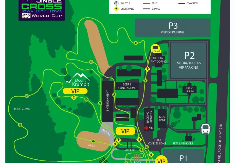 The course map for the 2016 Telenet UCI Jingle Cross World Cup in Iowa City.