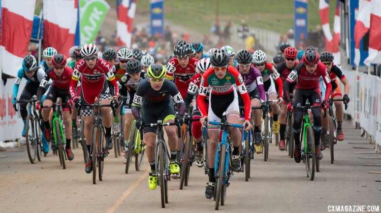Junior Men 15-16 race start, 2016 Cyclocross National Championships. © Cyclocross Magazine