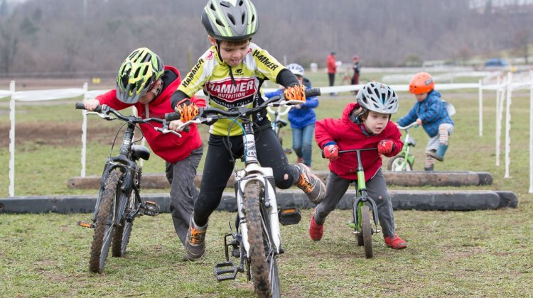 Remount skills were on display at the Kid Cross Race. 2016 Cyclocross National Championships. © Cyclocross Magazine