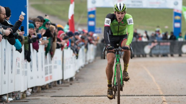 Curtis White gave it his all, but couldn't catch Ortenblad. U23 Men, 2016 Cyclocross National Championships. © Cyclocross Magazine