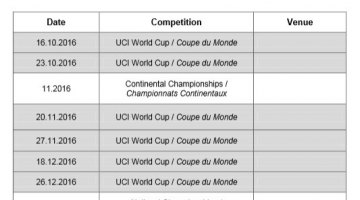 Preliminary 2016/2017 UCI Cyclocross World Cup schedule