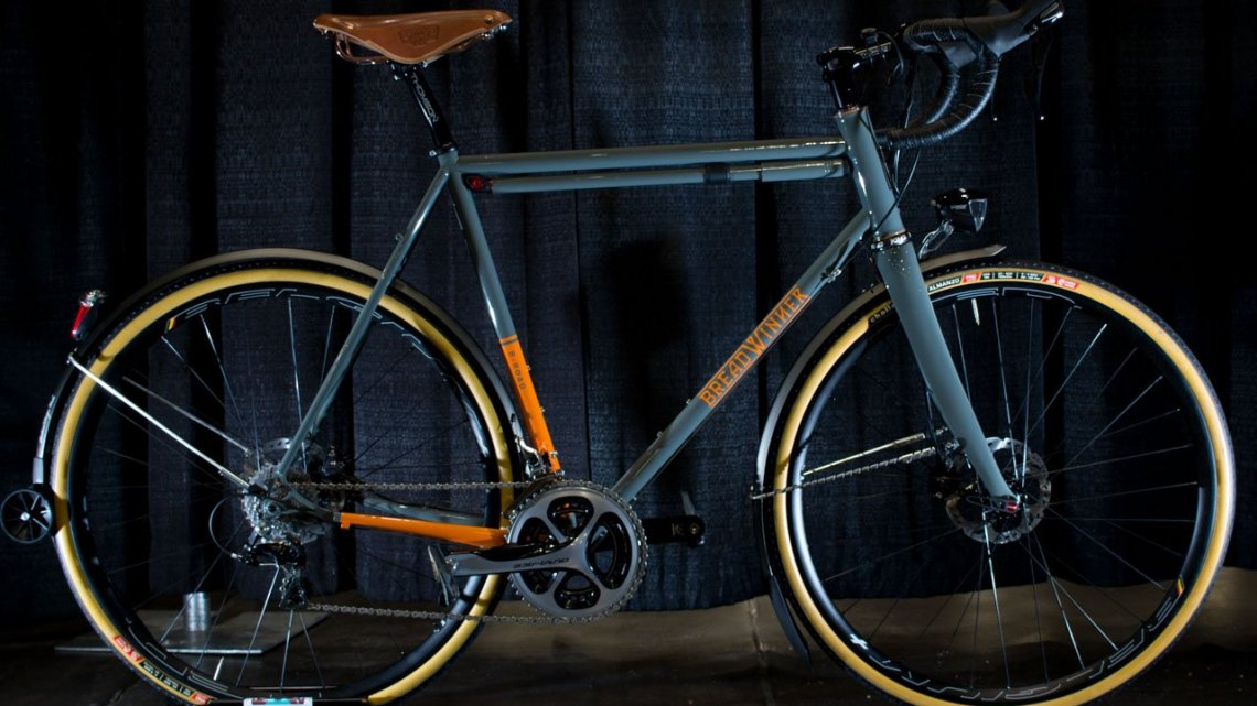 Breadwinner has a tricked-out full fendered B-Road gravel bike, complete with a dyno generator headlight and tailight and USB phone charger. NAHBS 2016. © Cyclocross Magazine