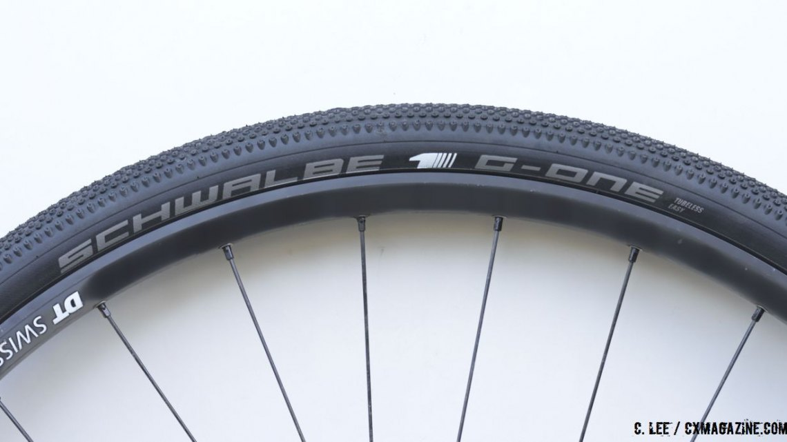 "Schwalbe's new G-One Tubeless Easy Gravel Tire comes in three sizes and is indeed ""tubeless easy."" © Clifford Lee / Cyclocross Magazine"