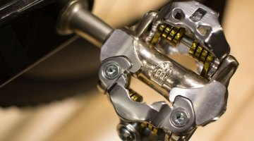 Ritchey's new WCS XC SPD-compatible, clipless mountain pedal features a lower stack height, fixed front claw and more contact surface area, similar to what Shimano added with the M980 and M780 pedals a few years ago. NAHBS 2016. © Cyclocross Magazine