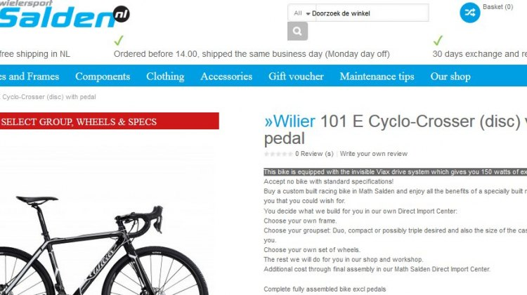 salden.nl offers a Wilier cyclocross bike pre-equipped with a pedal assist motor that is said to offer 150 watts of additional power.