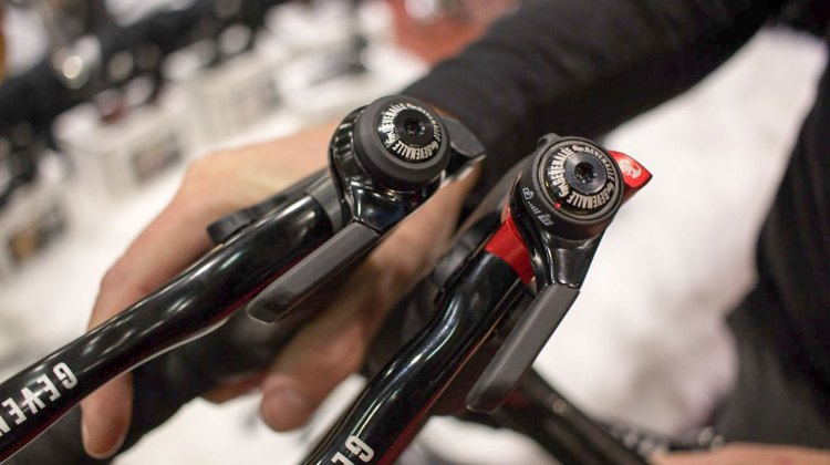 Want to run 1x with a Shimano mtb derailleur? 2x with a Shimano road or Gevenalle rear derailleur? Gevenalle has reliable shifter options for you. NAHBS 2016. © Cyclocross Magazine