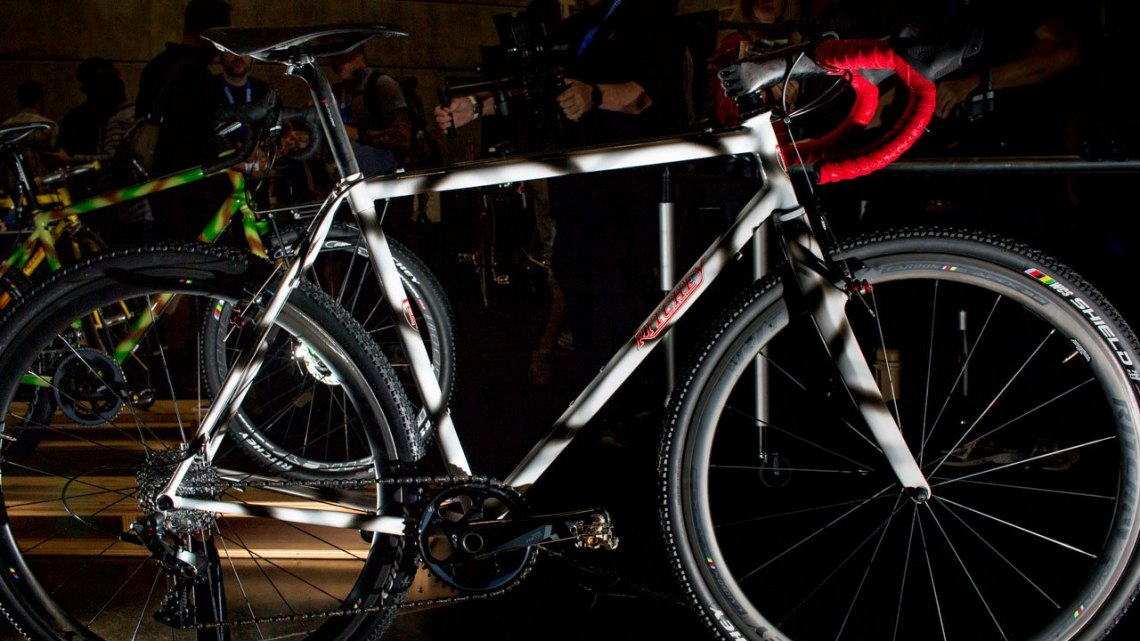 The steel Ritchey Swiss Cross with a $450 Heritage paint upgrade. The company now offers complete bikes, and the Swiss Cross with standard paint and Ultegra will be $3800. NAHBS 2016. © Cyclocross Magazine