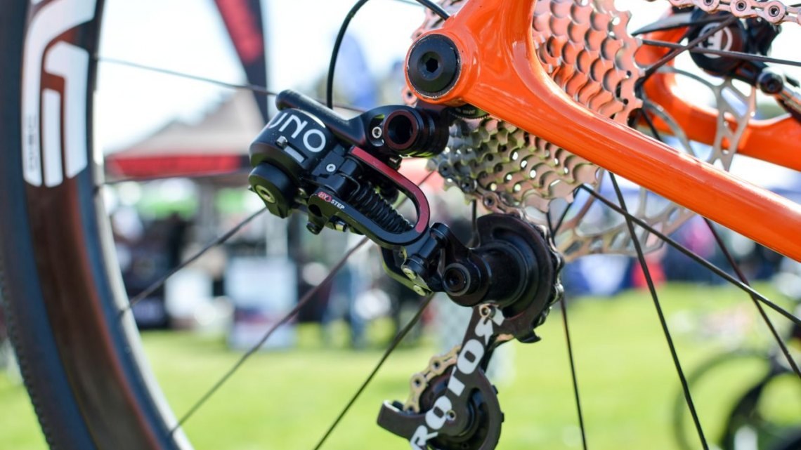 Rotor's new Uno hydraulic rear derailleur houses the indexing mechisn and has settings for quick wheel replacements. 2016 Sea Otter Classic. © Clifford Lee / Cyclocross Magazine.