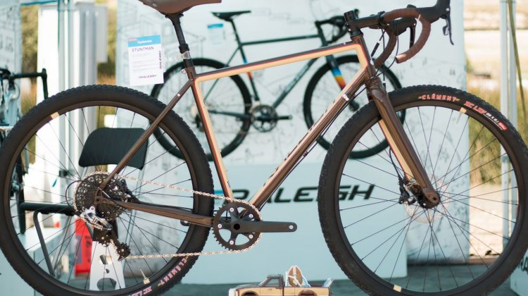 "Raleigh's Reynolds steel Stuntman cyclocross/gravel/stunt disc brake bike with 2.1"" tire clearance. Sea Otter Classic 2016. © Cyclocross Magazine"