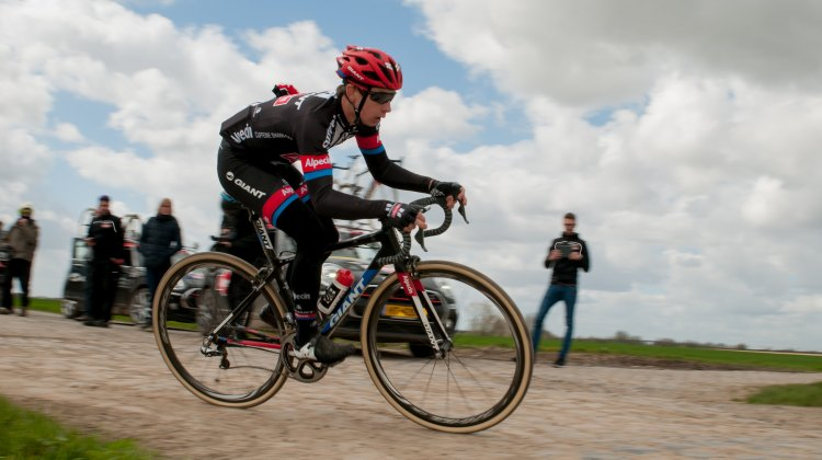 Lars van der Haar during his Paris-Roubaix recon. © Mario Vanacker