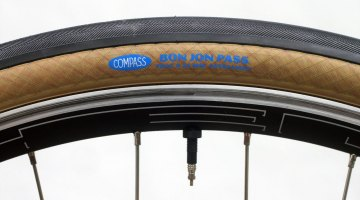 "Compass Cycles moves to tubeless with the Bon Jon Pass model (amongst others), offering a 35c file tread clincher in ""Standard"" and ""Extralight"" casing options. © Greg Evans / Cyclocross Magazine"