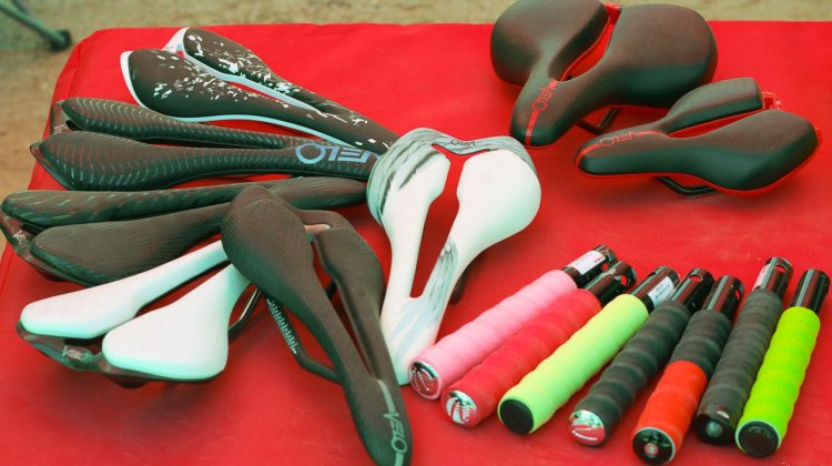 Velo Angel saddles and handlebar tape gives cyclocrossers and gravel cyclists a ton of options, and the company hopes to dominate the IBD's aftermarket sales. Sea Otter Classic 2016. © Cyclocross Magazine