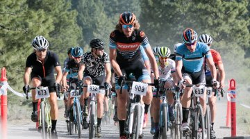 Barry Wicks leads out the pros to start his first Lost and Found Gravel Race. © Cyclocross Magazine