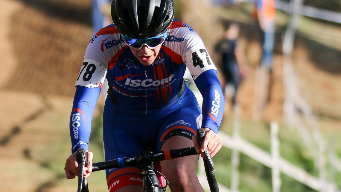 Nicole Mertz leads the Women's Singlespeed Championship race, 2016 Cyclocross National Championships. © Cyclocross Magazine