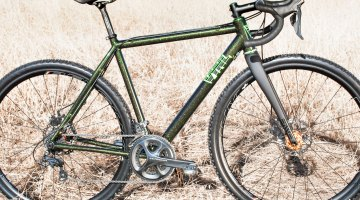 Green with Glitter: VYNL's new handmade aluminum made-in-USA cyclocross frames are designed for racing but have clearance for gravel tires.