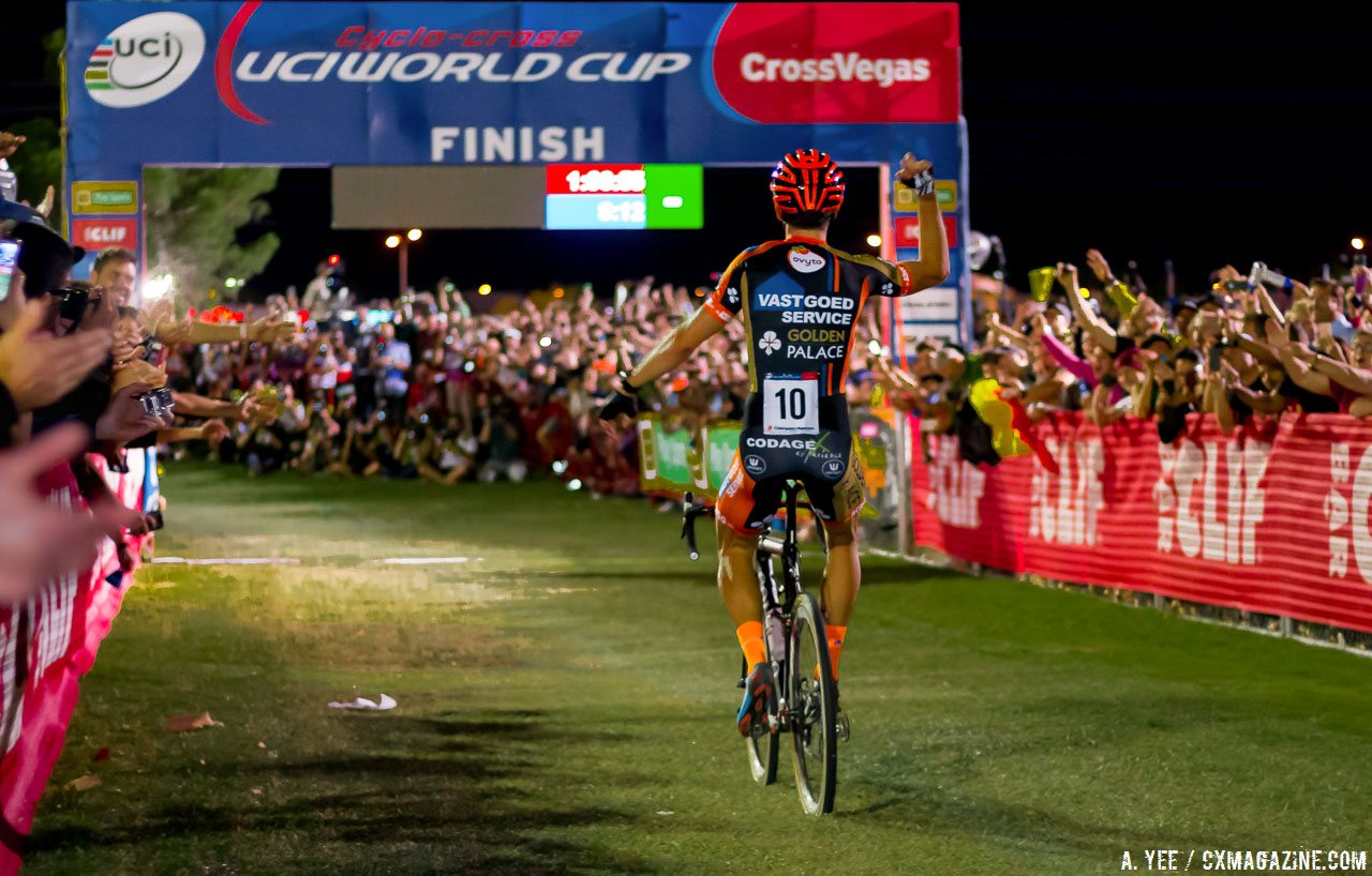 Thumbnail Credit� A. Yee / Cyclocross Magazine: World Champion and World Cup overall winner Wout van Aert returns to defend his title at CrossVegas. photo: CrossVegas 2015. � A. Yee / Cyclocross Magazine