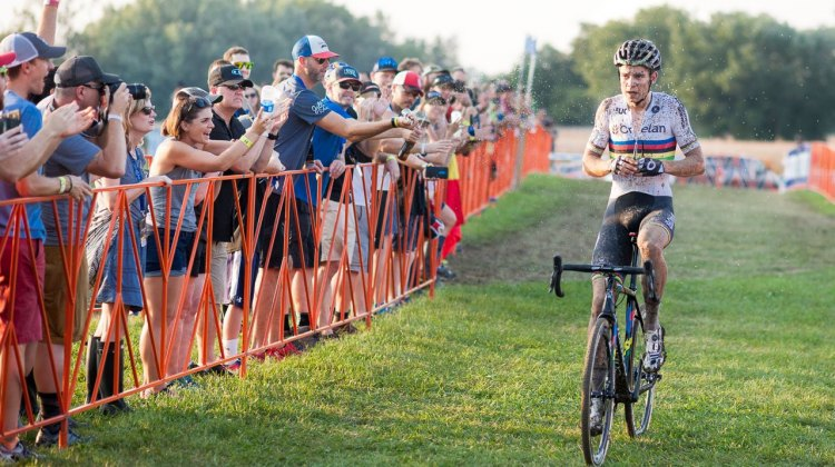 Van Aert wins his second World Cup of the season in Iowa City, but is greeted by an unwelcomed shower. 2016 Jingle Cross Day 1, Elite Men. © A. Yee / Cyclocross Magazine