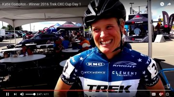 Katie Compton after her Day 1 win at the 2016 Trek CXC Cup in Waterloo.