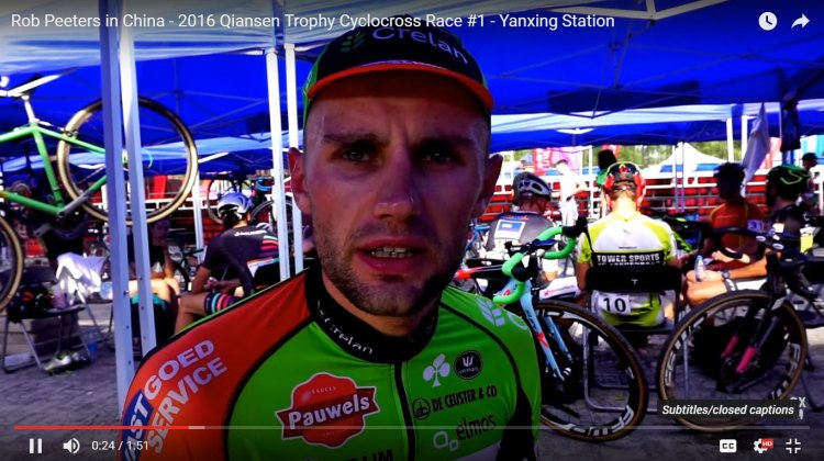 Rob Peeters talks with Cyclocross Magazine after his UCI C1 win on Day 1 of the 2016 Qiansen Trophy event.
