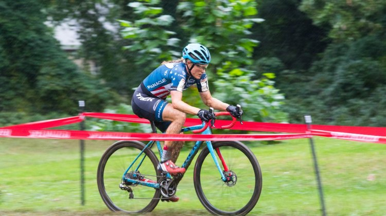 Katie Compton powered away as the course grew slick. 2016 Charm City Day 1. Elite Women. © Ricoh Riott
