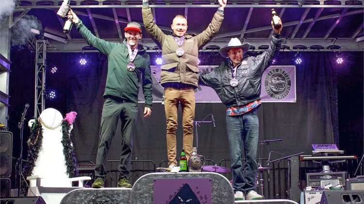 Duncan Riffle takes the win at the 2016 Grinduro over Geoff Kabush and Carl Decker. © Cyclocross Magazine