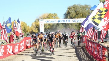 The Elite Men's start. US Open of Cyclocross Day 1. Valmont Bike Park, Boulder. © Cathy Fegan Kim