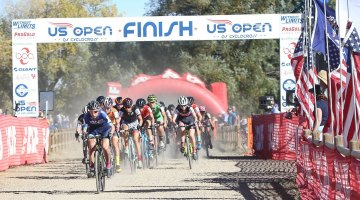 McCutcheon gets the holeshot in dusty conditions, and was the first to cross the finish on the last lap as well. US Open of Cyclocross UCI C2 Day 2. © Cathy Fegan Kim / Cyclocross Magazine