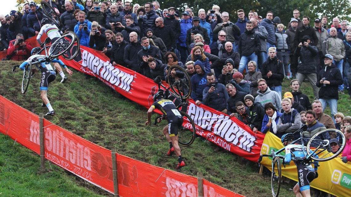 There were several tough, steep run-ups on the day. 2016 Valkenburg Cyclocross World Cup Elite Men. © B. Hazen / Cyclocross Magazine