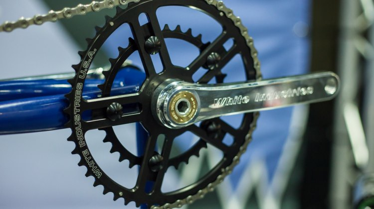 The White Industries R30 crank is one of three new crank offerings debuted at Interbike 2016. The crank arms and spindle (no rings) weigh in at 560g with a retail price of $300 USD. © Cyclocross Magazine