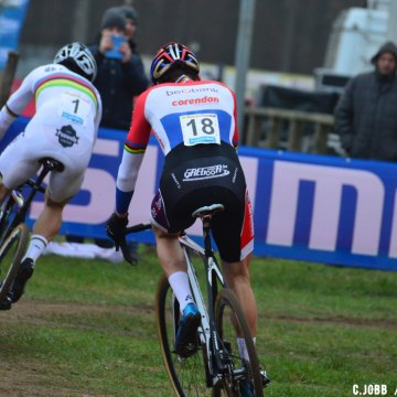 A rear view of Wout Van Aert and Mathieu Van Der Poel during the 2016 Zeven World Cup Elite Men's race. © C. Jobb / Cyclocross Magazine