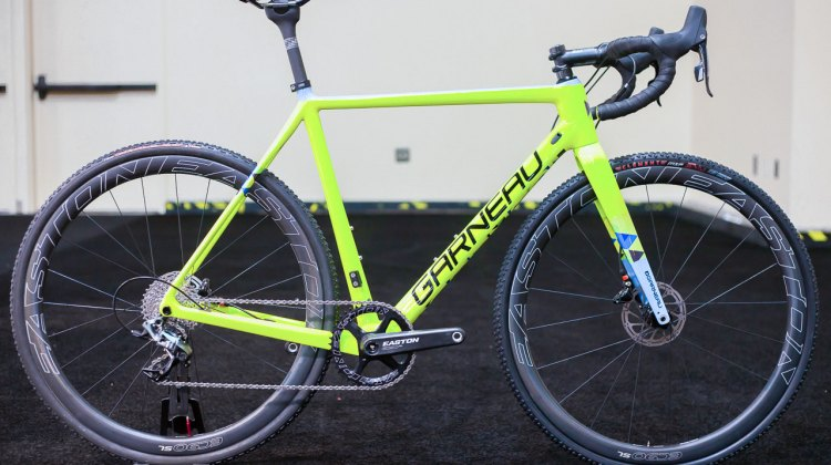 The 2017 Louis Garneau Steeple-XC cyclocross bike on the showroom floor at Interbike 2016. This colorway is exclusive to the Canadian Garneau Easton team. © Cyclocross Magazine