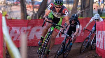 Curtis White, leading the series, and leading the 2016 Supercross Cup cyclocross race. © Chris McIntosh