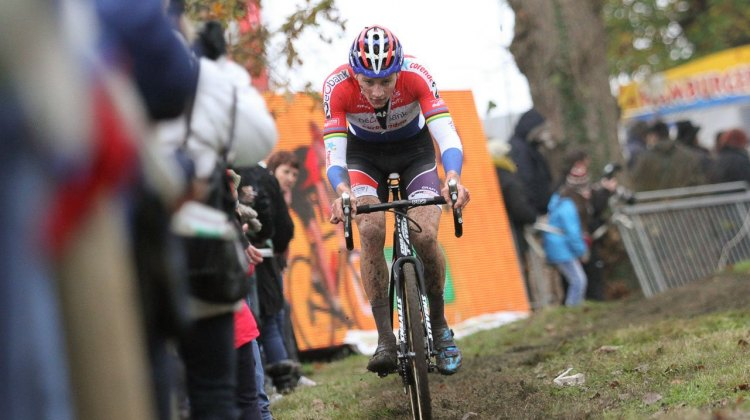 Mathieu van der Poel in command. 2016 Superprestige Gavere Elite Men. © B. Hazen / Cyclocross Magazine