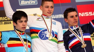 2012 Koksijde Cyclocross World Championships - Junior Men - L to R: Wout van Aert, Mathieu van der Poel, Quentin Jauregui